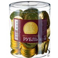 """""""Шоколадные монеты Рубль""""вес 6 гр. Блок 120 шт. Монетный двор"""