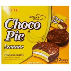 Шоколадные пирожные Чоко Пай (Choco Pie) вкус банан. Orion (12шт.), 336 гр.