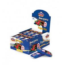 Мастер Десерта мини рулет лесные ягоды в шоколадной глазури. Вес 35 гр. Блок 24 шт.