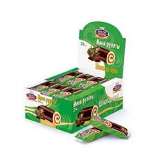 Мастер Десерта мини рулет  шоколад-орех в шоколадной глазури. Вес 35 гр. Блок 24 шт.