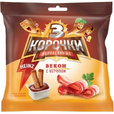 «3 Корочки», сухарики со вкусом бекона и кетчупом «Heinz», 85 гр.