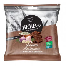 «Beerka», сухарики со вкусом чеснока с укропом и сметанным соусом, 85 гр.