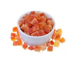 Натуральная Папайа кубики красная сушеная. Вес 1 кг. Sogdiana
